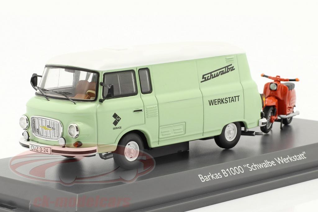 schuco-1-43-barkas-b1000-vrksted-service-med-schwalbe-kr51-lysegrn-orange-450365400/