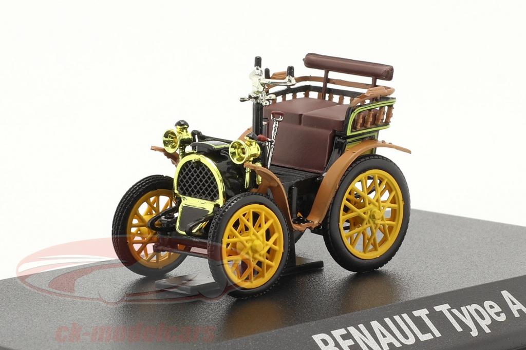 norev-1-43-renault-voiturette-type-a-bouwjaar-1899-zwart-bruin-geel-7711575940/