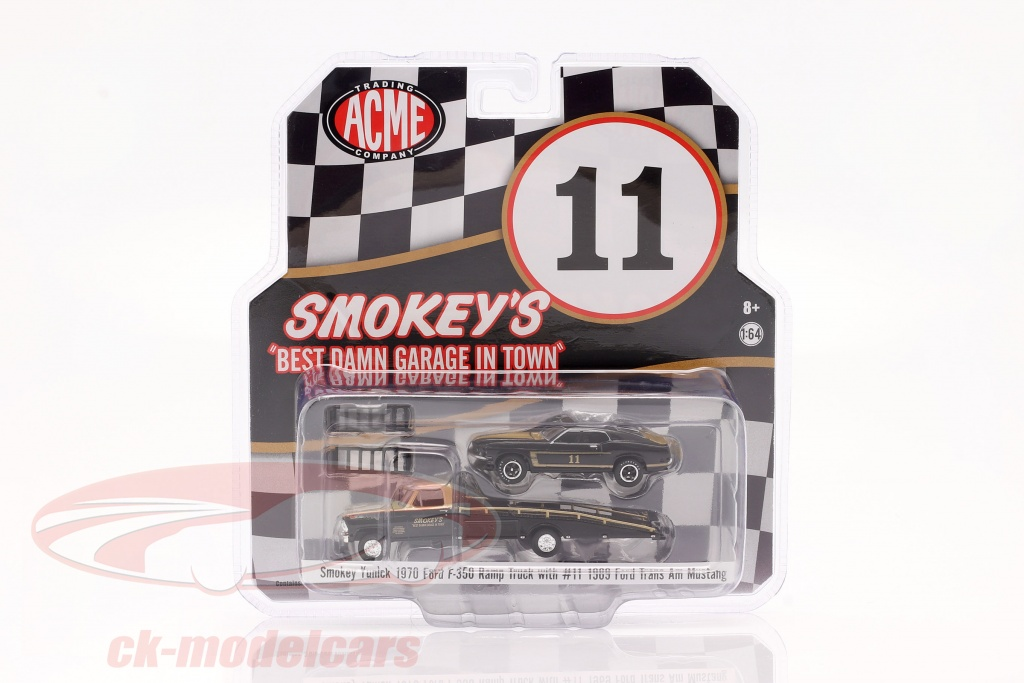 gmp-1-64-ford-f-350-ramp-truck-1970-med-ford-trans-am-mustang-no11-smokey-yunick-51341/
