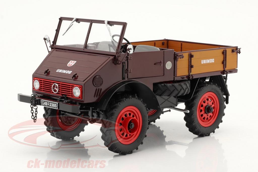 schuco-1-18-mercedes-benz-unimog-401-met-zachte-bovenkant-bouwjaar-1953-56-rood-450017500/