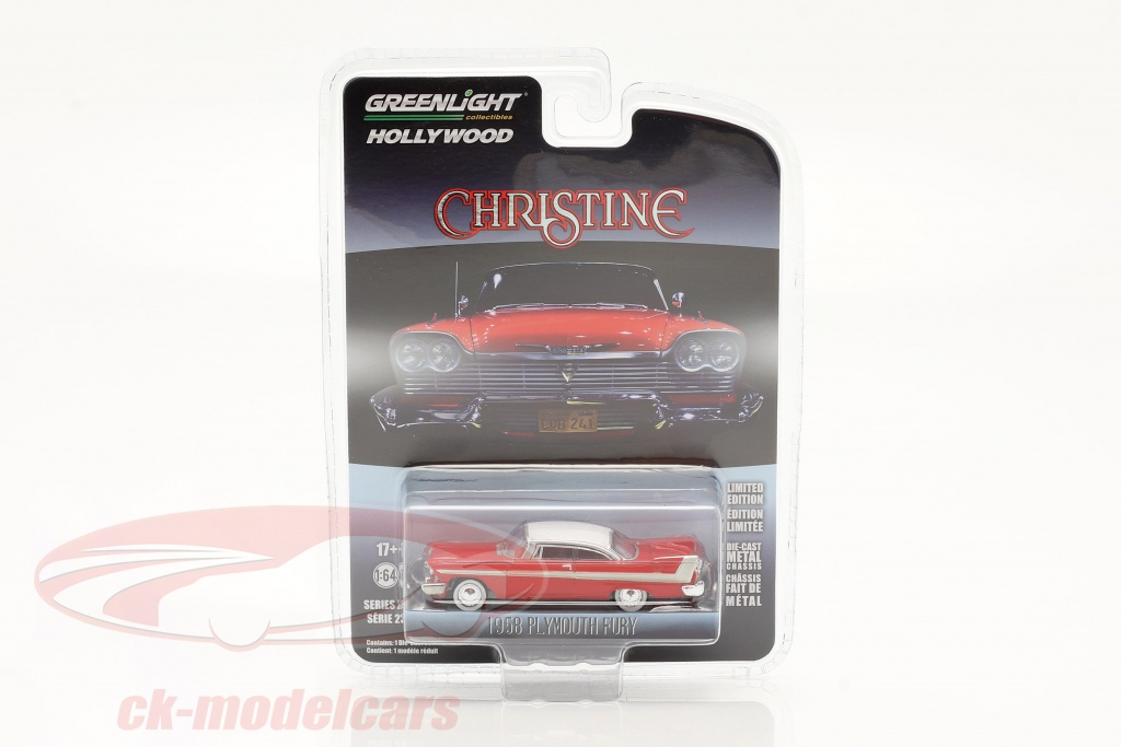 greenlight-1-64-plymouth-fury-1958-movie-christine-1983-red-white-silver-44830c/