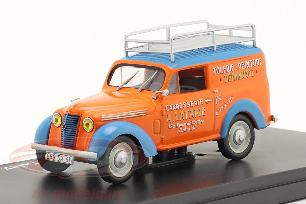 hachette-1-43-renault-juvaquatre-werbewagen-latapie-orange-blau-g111n036/