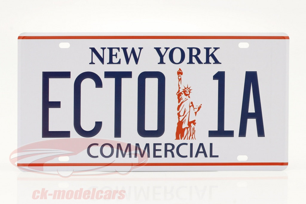 plaque-dimmatriculation-30-x-15-cm-ecto-1a-cadillac-1959-film-ghostbusters-1984-blanche-ck71683/