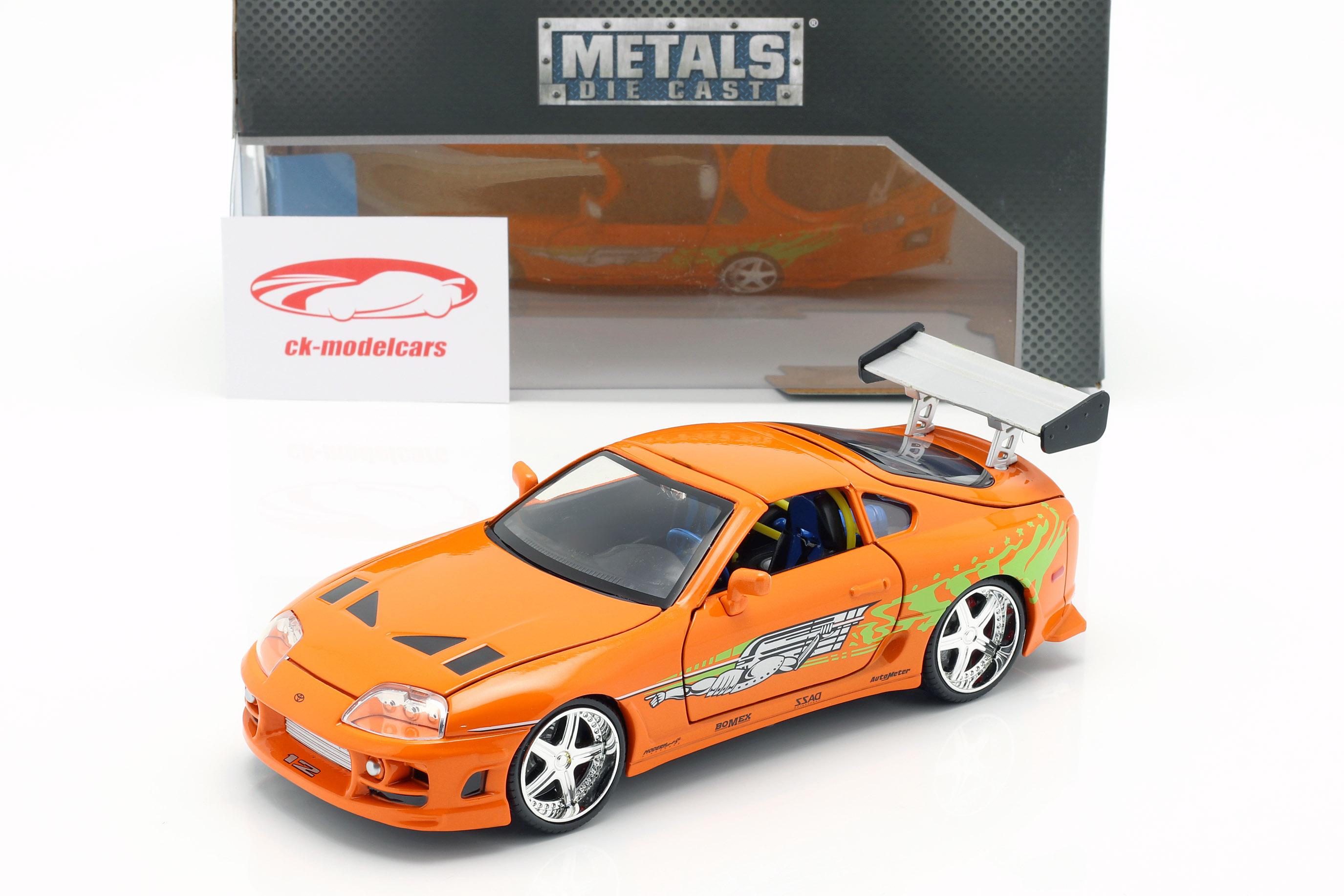 Brian's Toyota Supra van de Film Fast en Woedend 7 2015 oranje 1:24 Jada Toys