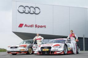 Hans-Joachim Stuck / Audi V8 DTM 1990 und Mathias Ekström / Audi RS 5 DTM 2015