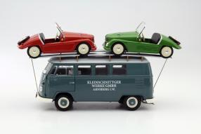 model car Volkswagen Bus T1 und Kleinschnittger F125 scale 1:18