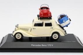 Modellauto Mercedes-Benz 170 V mit Brütsch Mopetta 1:43