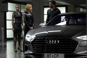 "Audi ""The First Avengers: Civil War"" mit  Black Panther/ T'Challa (Chadwick Boseman), Black Widow (Scarlet Johansson) und Chief-Security (Florence Kasumba)"
