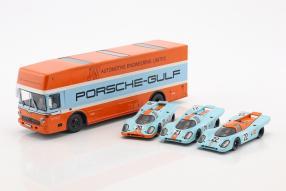 Gulf Porsche Renntransporter Mercedes-Benz O 317 1:43