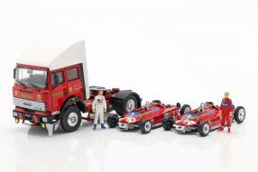 diecast miniatures Renntransporter Ferrari Fiat 190 1981 1:43 Brumm