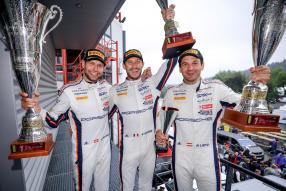 Michael Christensen (DK), Kevin Estre (F), Richard Lietz (A), copyright Foto: Porsche AG