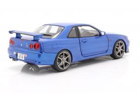 diecast miniatures Nissan Skyline GT-R 1999 bayside blau Solido