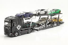automodelli Scania V8 730 S mit Auflieger Lohr 1:18 NZG