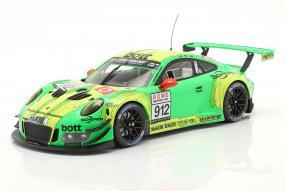diecast miniatures Porsche 911 GT3 R 991 No. 912 VLN 24h Nürburgring 2018 Grello von Manthey Racing 1:18 Ixo