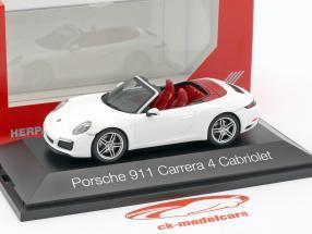 Porsche 911 (991) Carrera 4 cabriolet bianco 1:43 Herpa