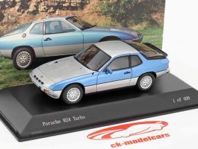 Porsche 924 Turbo Bicolor blu / argento 1:43 Spark