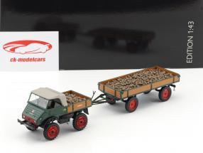 Unimog U401 avec bande-annonce et pommes de terre vert / brun 1:43 Schuco