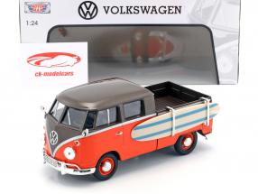 Volkswagen VW Type 2 T1 Pick-Up con surf nero / arancione 1:24 MotorMax