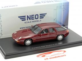 Porsche 928 Studie H50 Concept Car year 1987 dark red metallic 1:43 Neo
