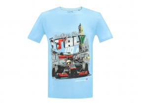 McLaren Greetings from Italy Lewis Hamilton F1 2009 T-Shirt hellblau