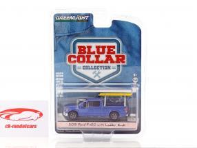 Ford F-150 avec support tête année de construction 2015 bleu foncé 1:64 Greenlight