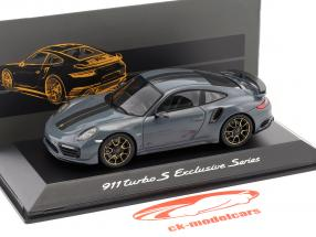 Porsche 911 (991) Turbo S Exclusives Series graphite blue metallic 1:43 Spark