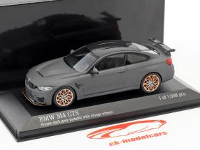 BMW M4 GTS year 2016 mat gray metallic with orange wheels 1:43 Minichamps