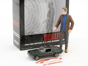 Figur Steve McQueen 1:18 & Ford Mustang GT 1968 Movie Bullitt (1968) green metallic 1:64 Greenlight