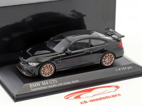 BMW M4 GTS year 2016 sapphire black metallic with orange wheels 1:43 Minichamps