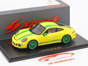 Porsche 911 (991) R Construction year 2017 yellow / green 1:43 Spark