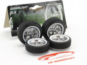 Custom Hot Rod Chrome Five-Spoke roue et pneu Set 1:18 Greenlight
