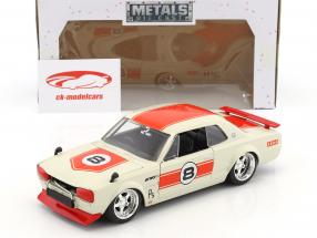 Nissan Skyline GT-R #8 year 1971 white / red 1:24 Jada Toys