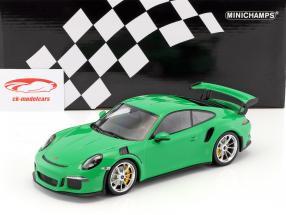 Porsche 911 (991) GT3 RS year 2015 viper green with mat silver rims 1:18 Minichamps