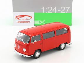 Volkswagen VW T2 bus année de construction 1972 rouge 1:24 Welly