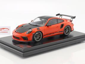 Porsche 911 (991 II) GT3 RS Weissach Package 2018 mit Vitrine lava orange 1:12 Spark
