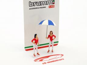 Set Giacobazzi Girls Lambrusco Team with umbrella 1:43 Brumm