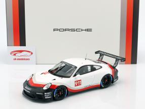 Porsche 911 GT3 Cup #911 Racing Experience white / black / red with showcase 1:18 Spark