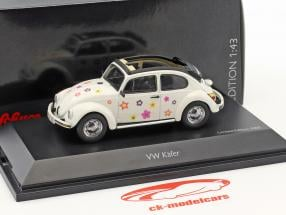Volkswagen VW Käfer Open Air Blumen-Dekor weiß 1:43 Schuco