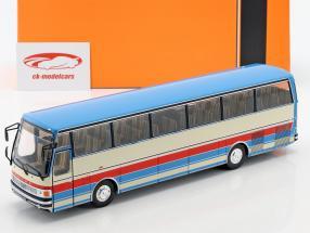 Setra S215 HD autobus anno di costruzione 1976 blu / beige / rosso 1:43 Ixo