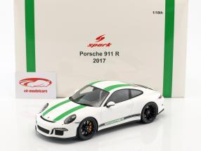 Porsche 911 R year 2017 white / green 1:18 Spark