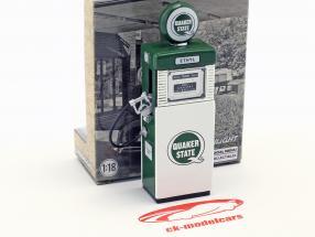 Wayne 505 Quaker State gaz pompe 1951 avec pompe lumière vert / blanc 1:18 Greenlight