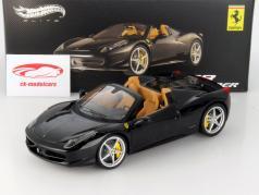 Ferrari 458 Spider Year 2012 black / beige 1:18 HotWheels Elite