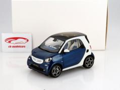 Smart fortwo Coupe (C453) white / blue 1:18 Norev