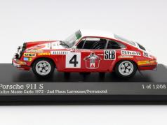 Porsche 911 S #4 2nd Rally Monte Carlo 1972 Larrousse, Perramond 1:43 Minichamps