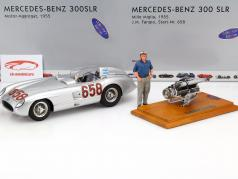 Mercedes-Benz 300 SLR #658 set with motor and driver figure Mille Miglia 1955 1:18 CMC