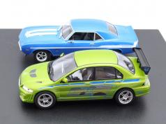 2-Car set Chevrolet Yenko Camaro and Mitsubishi Lancer Fast and Furious 1:43 Greenlight