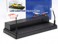 Single showcase with 2 mobile LED lamps for model cars 1:24,1:43,1:64 Triple9