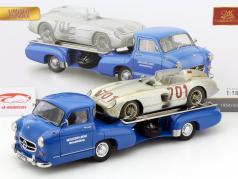 Mercedes-Benz racing transporter set blue wonder with MB 300 SLR #701 Dirty Hero 1:18 CMC