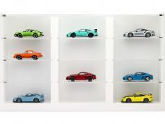 Wooden high-quality showcase for 12 modelcars white 1:43 Porsche