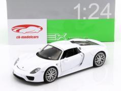 Porsche 918 Spyder year 2015 white 1:24 Welly